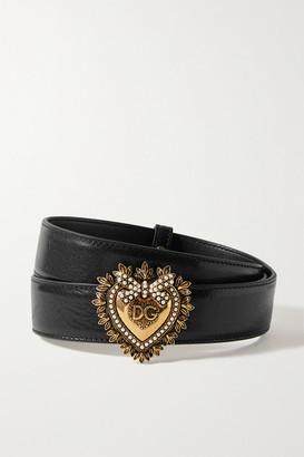 Dolce & Gabbana Devotion Faux Pearl-embellished Glossed-leather Belt - Black