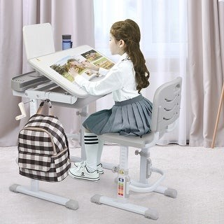 Overstock Hand-Operated Lifting Table Top Can Tilt Children's Study Desk,Chair