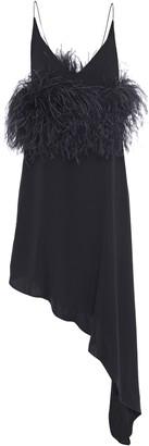16Arlington Asymmetric Feather-embellished Twill Slip Dress
