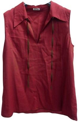 Miu Miu Burgundy Cotton Top for Women