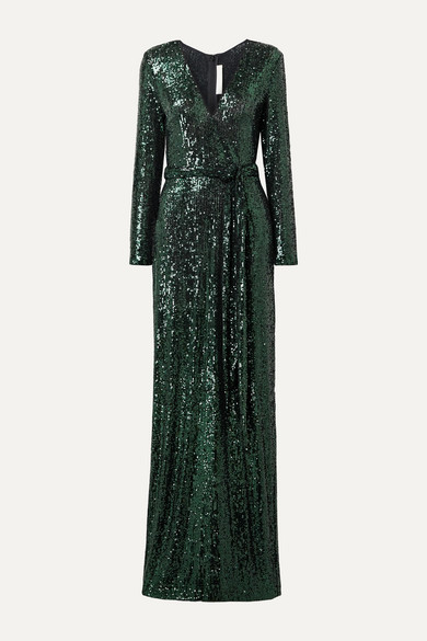 Thumbnail for your product : Naeem Khan Belted Sequined Tulle Gown - Black