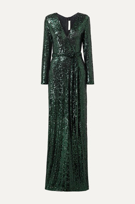 Naeem Khan Belted Sequined Tulle Gown - Black