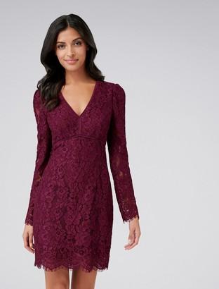 Forever New Harriet V-Neck Lace Mini Dress - Burgundy - 4