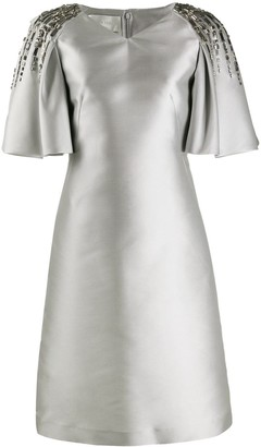 Alberta Ferretti Flare Sleeve Metallic Dress
