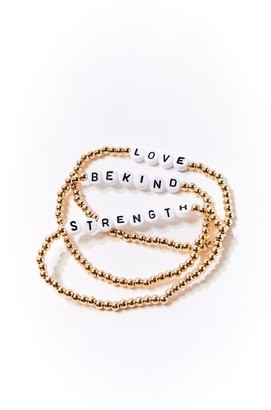 Forever 21 Beaded Text Charm Bracelet Set