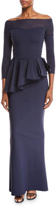 Chiara Boni Nabelle Off-the-Shoulder Illusion Gown w/ Peplum Waist
