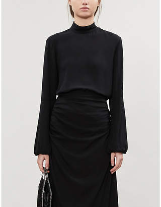 Theory Turtleneck silk-crepe blouse