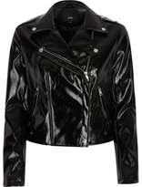 River Island Womens Black vinyl biker jacket