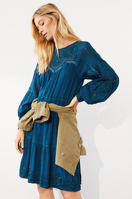 Anthropologie Sharon Embroidered Tunic Dress By in Blue Size XS