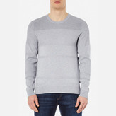 Michael Kors Men's Honeycomb Stripe Crew Neck Sweatshirt Heather Grey