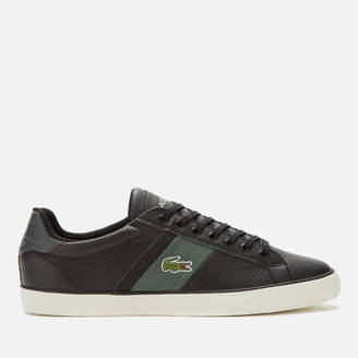 Lacoste Men's Fairlead Leather And Canvas Trainers - Black/Dark Grey