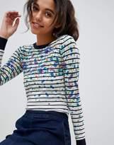 Oasis Floral Stripe Print Contrast Cuff Sweater