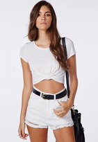 Missguided Capped Sleeve Knot Crop Top White