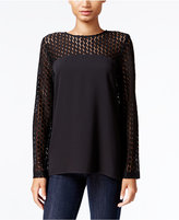 Kensie Crepe Lace-Contrast Top