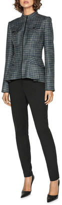 Melange Home Cue Tweed Zip Front Peplum Jacket
