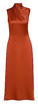 Brandon Maxwell Women's Wrapped Highneck Sleeveless Satin Dress