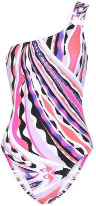 Emilio Pucci Beach Printed one-shoulder swimsuit