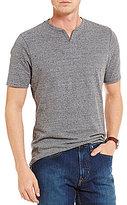 Daniel Cremieux Jeans Split Neck Solid Short-Sleeve Tee