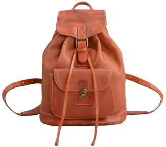 Touri Handmade Genuine Leather Backpack In Tangerine Brown