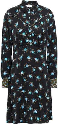 Sandro Floral-print Satin Shirt Dress