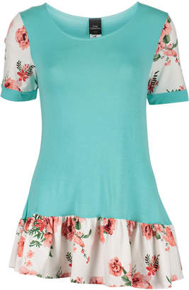 One Fashion By Cozy Collection One Fashion by Cozy Collection Women's Tunics Mint - Mint & Pink Floral Ruffle-Hem Short-Sleeve Swing Top - Women & Plus