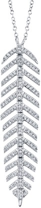 Ron Hami 14K White Gold Pave Diamond Feather Pendant Necklace - 0.29 ctw