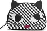 Lulu Guinness Women's Stripe Kooky Cat Crescent Pouch Black White