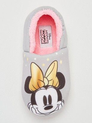 Minnie Mouse Girls Slippers - Grey