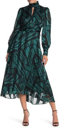 Donna Morgan Geo Print Long Sleeve High/Low Midi Dress
