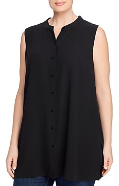 Eileen Fisher Plus Mandarin-Collar Silk Sleeveless Shirt