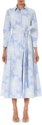 Carolina Herrera Floral Print Tie-Waist Shirtdress