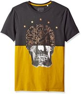 GUESS Men's Gold Foil Skull Crew Neck T-Shirt