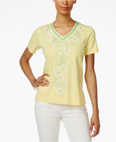 Alfred Dunner Petite Bahama Bays Embroidered Top