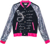 Leka Bomber Jacket with Sequin Sleeves