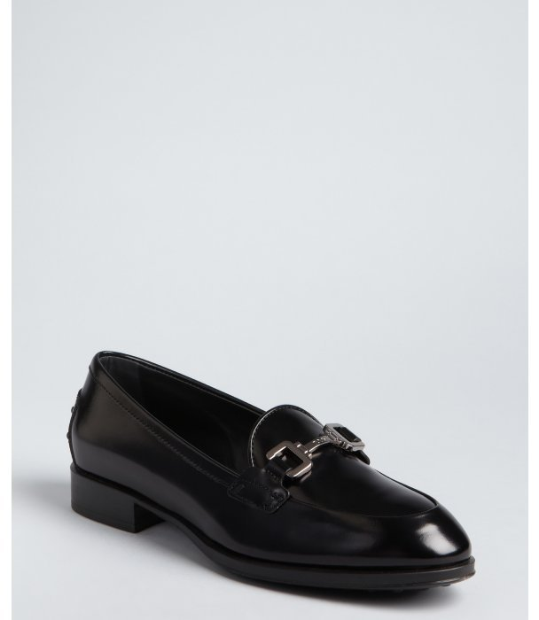 Tod's black polished leather horsebit buckle loafers