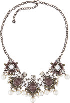 Lydell NYC Mixed Crystal & Simulated Pearl Statement Bib Necklace, Multi