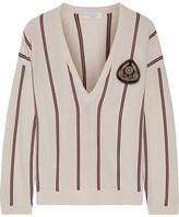 Brunello Cucinelli Embellished Striped Cashmere Sweater - Beige