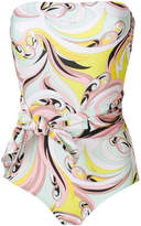 Emilio Pucci printed strapless belted swimsuit