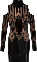 Balmain Cutout crystal-embellished velvet mini dress