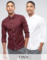 Asos Skinny Shirt In White And Burgundy With Long Sleeves 2 Pack