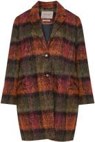 Open End Plus Size Checked alpaca mohair coat
