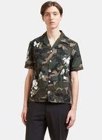 Valentino Men's Camouflage Botanic Print Cargo Shirt In Khaki
