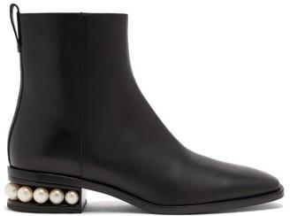 Nicholas Kirkwood Casati Pearl-heel Leather Ankle Boots - Black