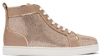 Christian Louboutin Louis Crystal-embellished High-top Suede Trainers - Womens - Gold