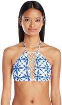 Bikini Lab Women's Tie-Dye Another Day High Neck Cropped Bra Top