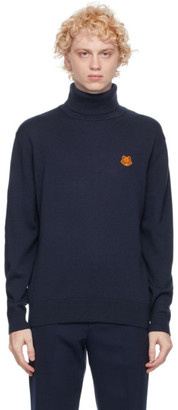 Kenzo Navy Wool Tiger Crest Turtleneck