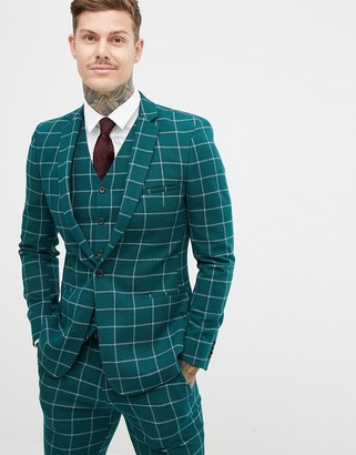 Asos Design DESIGN skinny suit jacket in forest green windowpane check