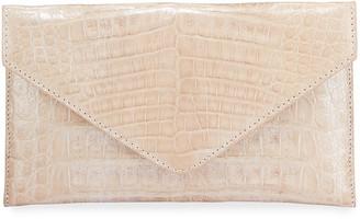 Judith Leiber Flat Caiman Crocodile Envelope Clutch