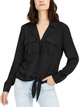 INC International Concepts Inc Petite Tie-Front Utility Shirt, Created for Macy's