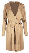 Oops Outlet Womens Long Sleeve Waterfall Italian Blazer Ladies Oversized Belted Coat Jacket